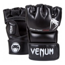 "Venum ""Impact"" MMA Gloves - Black - Skintex Leather"