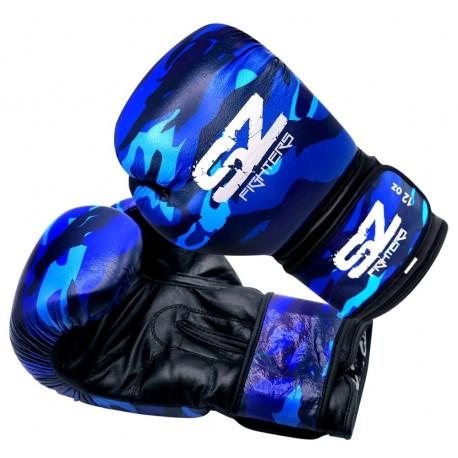 Боксови ръкавици Естествена кожа - Camo Blue